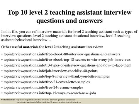 top 10 level 2 teaching assistant questions and answers