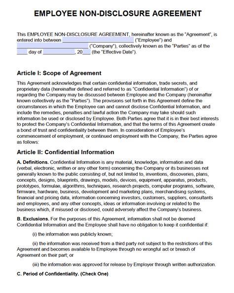 Free Employee Non Disclosure Agreement Nda Pdf Word Docx Non Disclosure Agreement Template New York