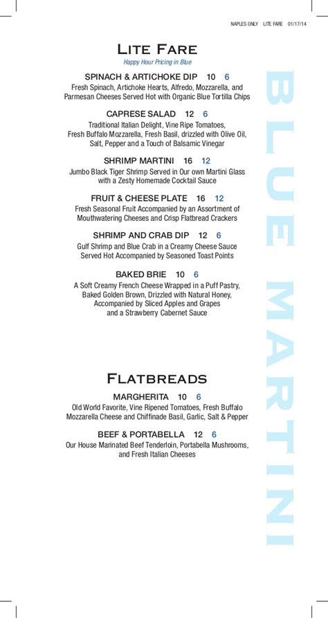 blue martini menu hour food menu at blue martini lounge