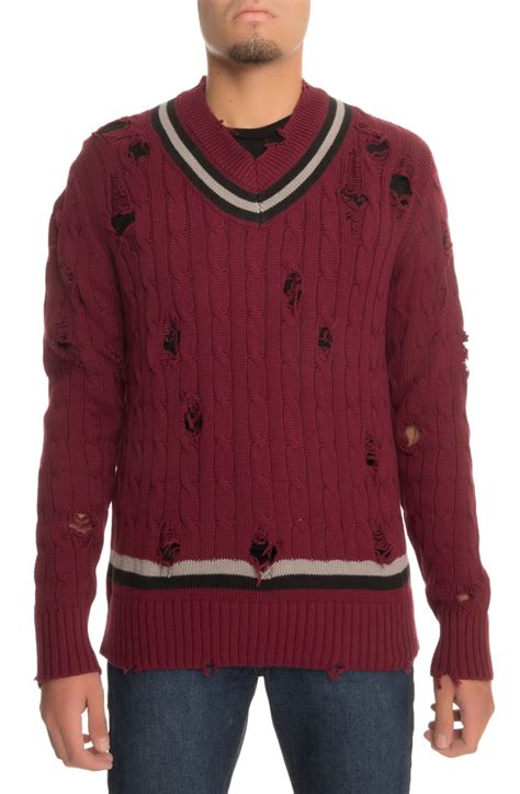 maroon cable knit sweater the distressed cable knit sweater in burgundy