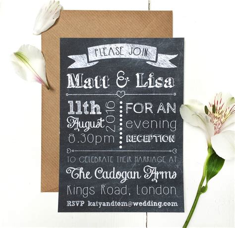 wedding invitations evening chalkboard evening wedding invitation by peardrop avenue notonthehighstreet