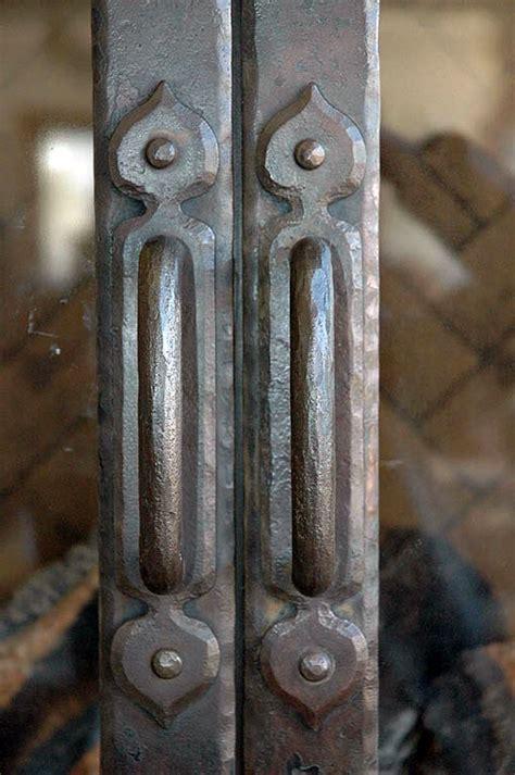 mountain rustic fireplace door forged door handle