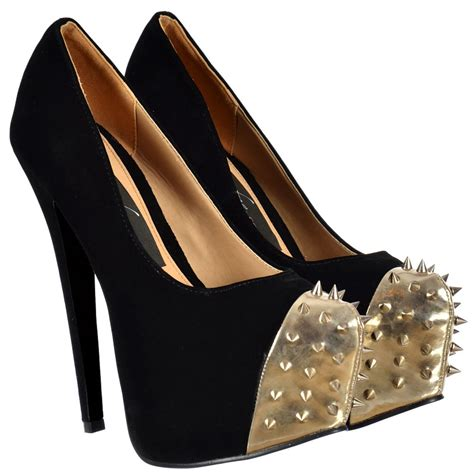 black and gold high heel shoes onlineshoe suede studded high heel stiletto concealed