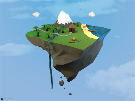 simple voxel floating island blender 3d youtube low poly mountain floating island flat minimalist