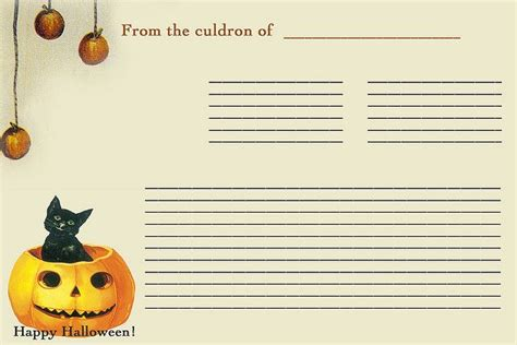 printable halloween recipes halloween black cat recipe card printables halloween