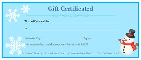 free customizable gift certificate template free online gift