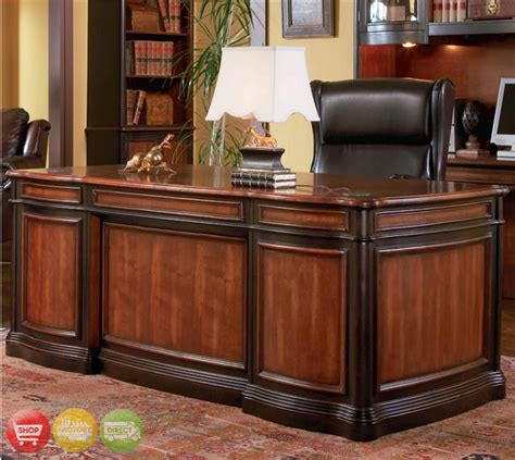 executive home office desk two tone wood executive home office desk with 5 drawers