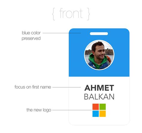 microsoft id card design the blue badge reimagined
