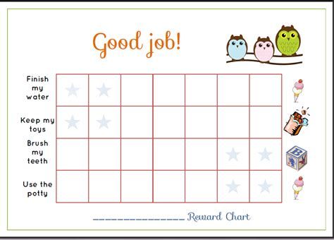 Toddler Reward Chart Printable free printable toddler reward chart for you