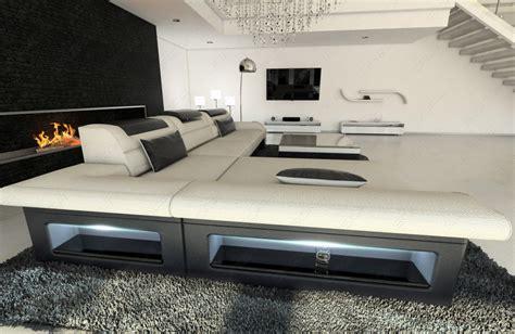 sofa mit led beleuchtung wohnlandschaft luxus stoff monza l form creme designer