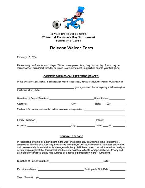 Release Letter From Soccer Club Waiver Tewksbury Youth Soccer League