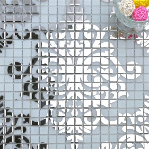 silver mosaic tiles bathroom silver glass mosaic tile wall murals backsplash plated crystal glass tile patterns for