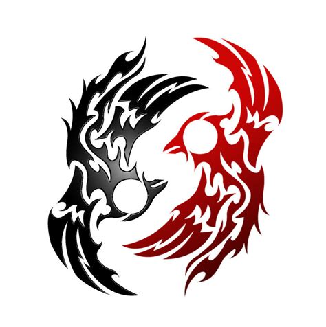 tribal tattoos red and black yin yang images designs