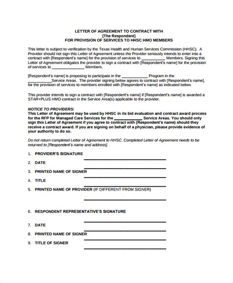Letter Of Agreement Model Sle Letter Of Intent Contract 8 Documents In Pdf Word