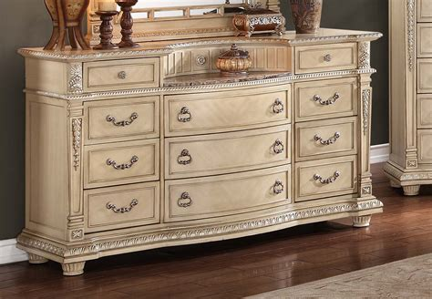 Antique White Dresser Bedroom Furniture Homelegance Palace Ii Upholstered Bedroom Set Antique White 1394ww Bed Set At Homelement