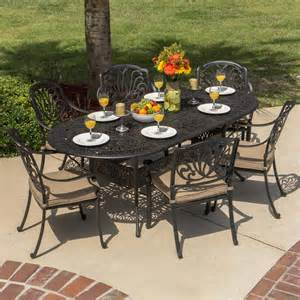 rosedown 6 person cast aluminum patio dining set with 86 x