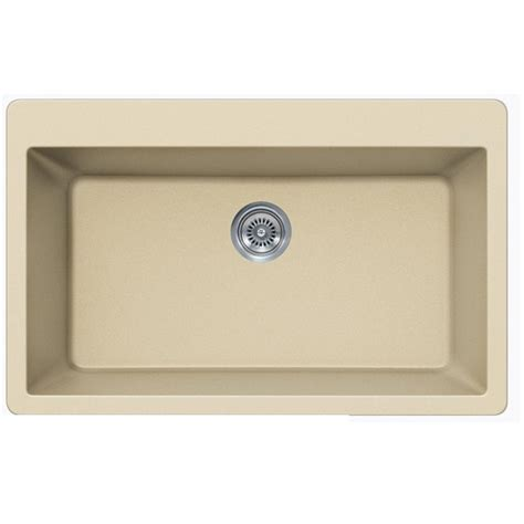 Beige Kitchen Sinks Beige Quartz Composite Single Bowl Undermount Drop In Kitchen Sink 33 X 21 X 9 Inch