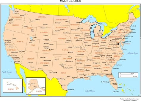 us map with cities states united states map