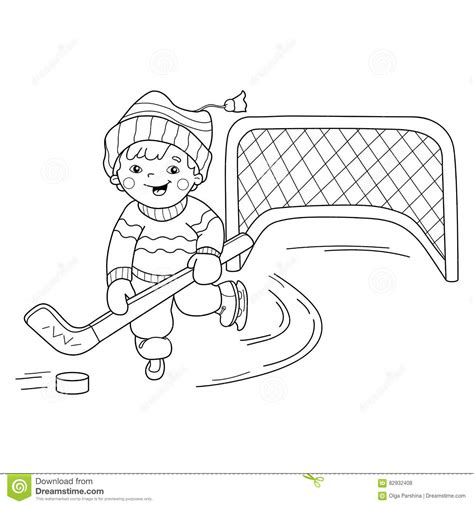 college hockey coloring pages school boy playing in forest at winter stock photography