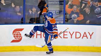 Connor mcdavid celebrates a goal in his return from a broken