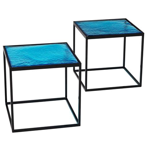 blue coloured glass side tables with metal quot box