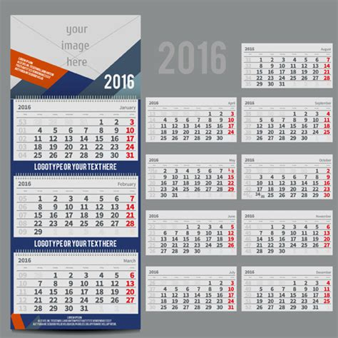 desk calendar template 2016 vector material 02 vector