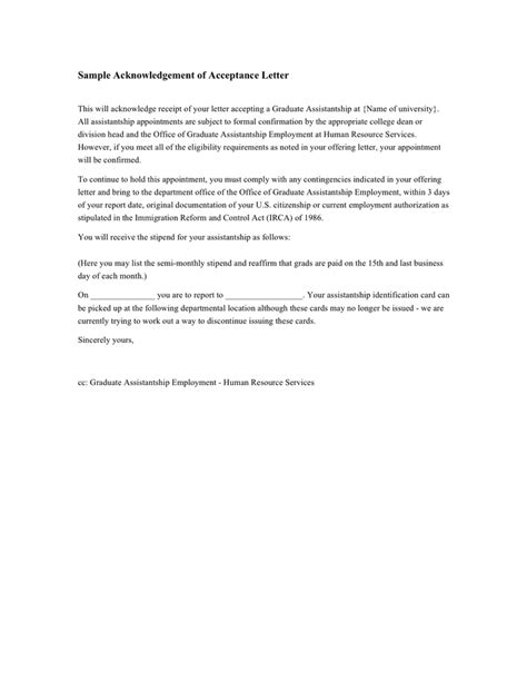 Acknowledgement Letter Graduation Sle Acknowledgement Of Acceptance Letter In Word And Pdf Formats