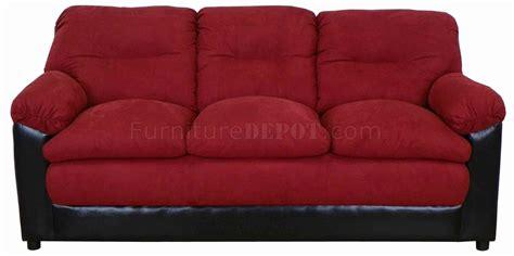 burgundy fabric and bicast modern loveseat sofa set w