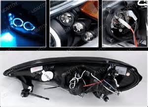 99 05 pontiac grand am black dual halo projector led headlights