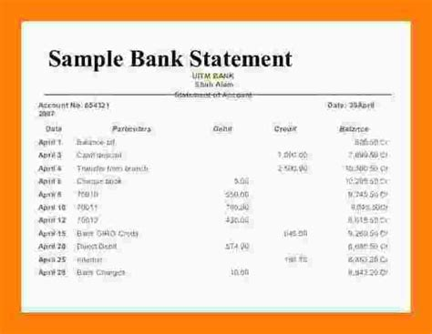 Bank Of America Credit Card Reconciliation Template by 10 Exle Of A Bank Statement Bank Statement Pay