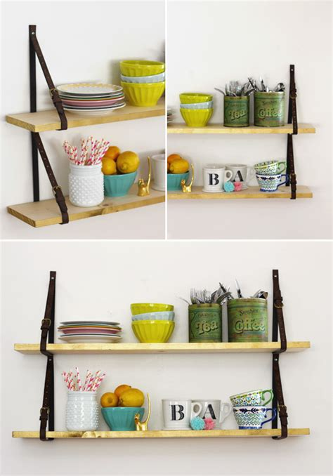 How To Make Shelf At Home by Diy Shelves With Belt Straps At Home In