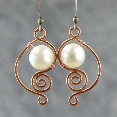 Handmade Earring Ideas - copper wiring pearl dangle earrings handmade ani designs