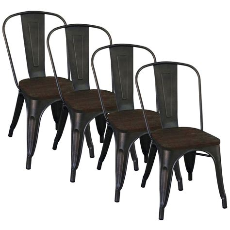 Metal And Wood Dining Chairs Worldwide Homefurnishings Gunmetal Metal And Elm Wood Dining Chair Set Of 4 202 939 The Home