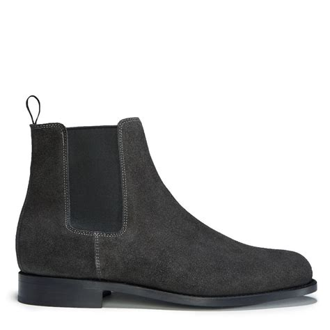 grey suede chelsea boots welted leather sole hugs co