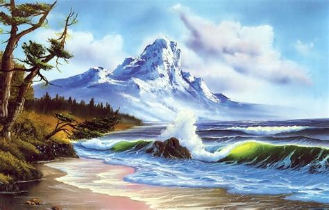 bob ross painting waves wallpaper mountain picture wave snow painting shore