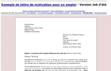 Exemple De Lettre De Motivation Pour Emploi Saisonnier Gratuit lettre de motivation emploi saisonnier