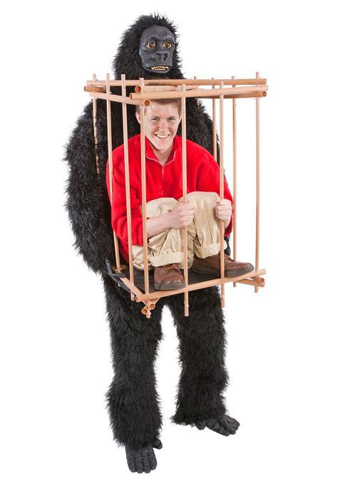 in a cage in a gorilla cage costume