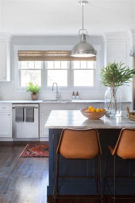Orange Leather Counter Stools by Gray Granite Kitchen Peninsula Orange Leather Barstools