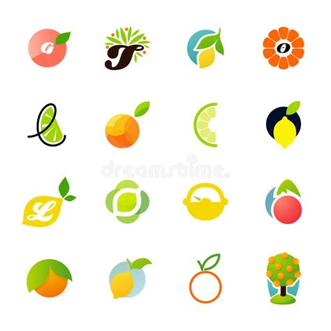 design element citrus citrus family lemon orange lime tangerine stock