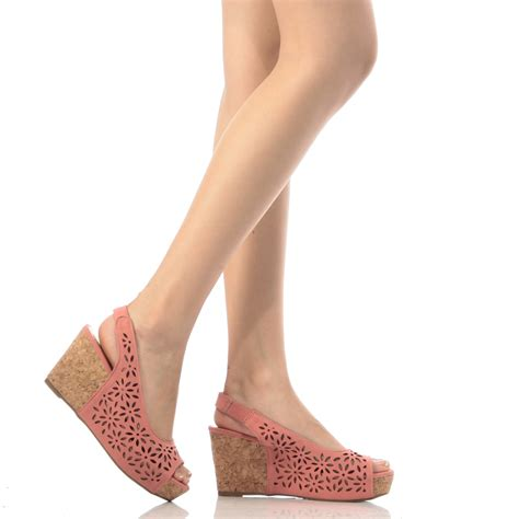 Wedges Laser Ls06 24 coral faux nubuck laser cut out cork wedges cicihot wedges shoes store wedge shoes wedge boots