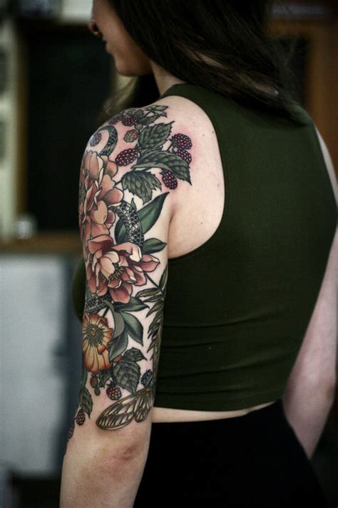 flower garden tattoos garden half sleeve i ve been working on since september on