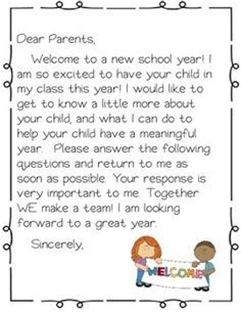Parent Letter For New School Year Teacher S Introduction Letter To Parents Teachers Write Introduction Letters At The Beginning