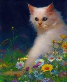 painting kitten kitten paintings white cat galasinski