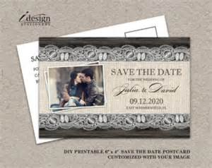 diy save the date cards templates burlap wedding invitations etsy
