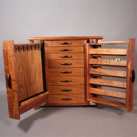 Jewelry Storage Cabinet Koa Jewelry Cabinet With Necklace And Earring Storage