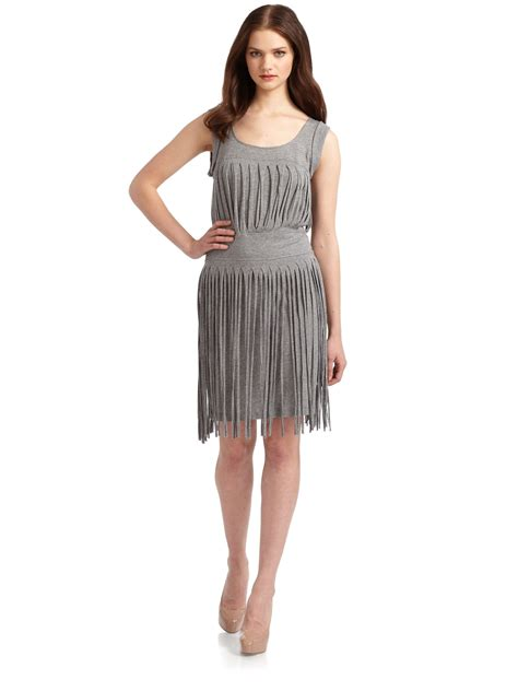 jersey knit gowns bcbgmaxazria fringed jersey knit dress in gray grey lyst