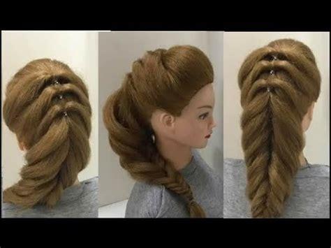 reverse fishtail braid part    easy puff hairstyles