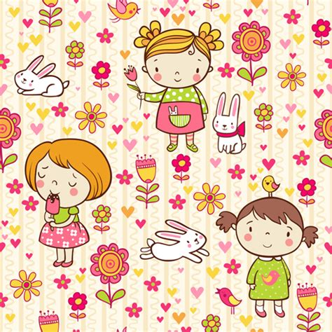 cute kid pattern cartoon kids with floral seamless pattern vector 01