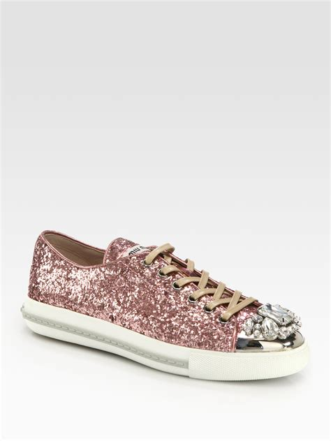 miu miu sparkle sneakers lyst miu miu glitter jeweled laceup sneakers in pink