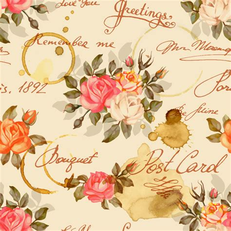 Vintage Flowers Pattern vintage flowers patterns vector seamless design free
